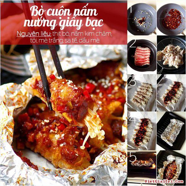cung-thuong-thuc-barbecue-voi-bo-cuon-nam-nuong-giay-bac